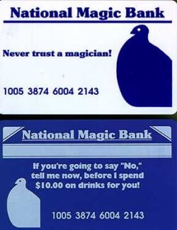 Gag Magician's Credit Cards