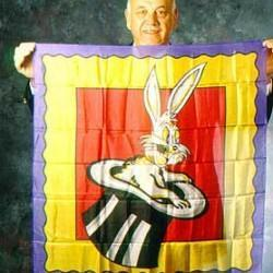 Rabbit In Hat-Patterned Silk (36-inches)