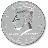 Jumbo Kennedy Coin - 1964 Chrome
